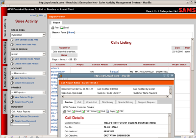 Web based Sales Management System Screenshot
